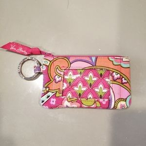 vera bradley id card holder & keychain-pink swirls